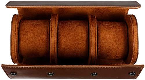 UMBRANDED 3 ranuras para relojes retro de piel sintética de poliuretano, bolsa de viaje elástica, organizador de relojes, organizador de joyas, caja para accesorios de reloj (marrón)