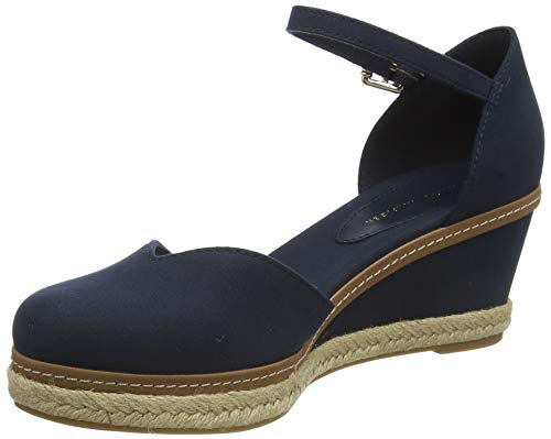 Tommy Hilfiger Damen Basic Closed Toe MID Wedge Peeptoe Sandalen, Blau (Desert Sky Dw5), 39 EU