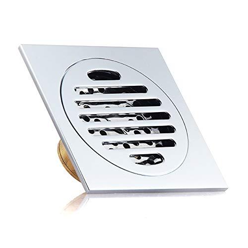 JenLn Desodorante Piso desagüe del baño WC Gran Desplazamiento a Prueba de Insectos de Drenaje de Cobre Piso Colador de Cazadores de Pelo (Color : Metallic, Size : 120x120x45mm)