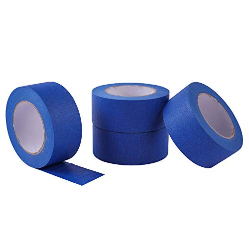 """4 Pack 2"""" x 60 yd Blue Painter's Tape, Easy - Tear, Pro - Grade Removable Masking Tape for Basic Painting, 4 Rolls, 240 Total Yards Photo #2"""