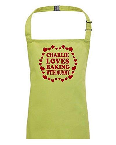 Love Baking with Mummy Tablier personnalisé avec votre nom pour enfants/enfants