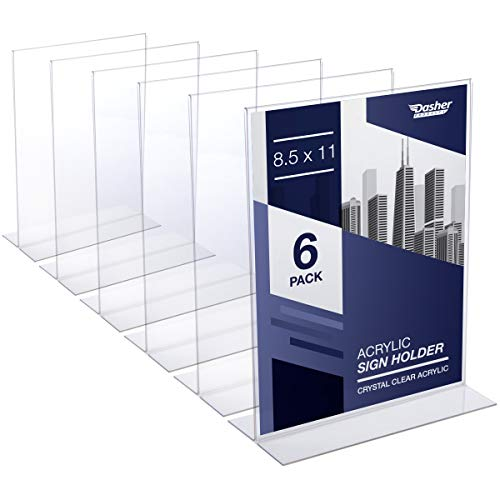 Acrylic Sign Holder 8.5 x 11 - Acrylic T Shape Table Top Display Stand, Double Sided, Bottom Load, Portrait Style Menu Ad Frame. Perfect for Restaurants, Promotions, Photo Frames, Classroom (6 Pack)