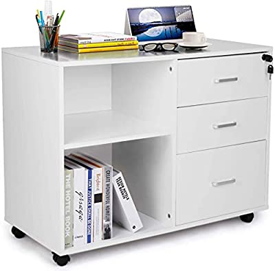 TUSY 3 Drawer File Cabinet with Lock, Mobile Lateral Filing Cabinets with Wheels, Printer Stand with Open Storage Shelves for Home Office, White