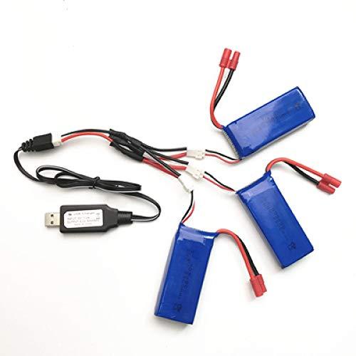 N/V Syma X8C Partes Cargador batería X8C X8W X8G X8HC X8HW X8HG 7.4V 2500mah RC Quadcopter repuestos Cargador + 1 a 3 Cables + 3 baterías Gold