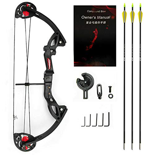 E-ROCK 15-29lbs Archery Twin Cam Adjustable Right-Hand Bow Compound Bow for Beginner Entry Level -Black