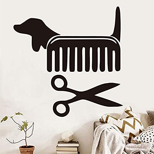 Mascotas Grooming Salon Pet Shop Vinilo Pegatinas De Pared Peine Tijeras Styling Vinilo Extraíble Impermeable Calcomanía Arte De La Pared Decoración Del Hogar-59Cm X 59Cm Negro