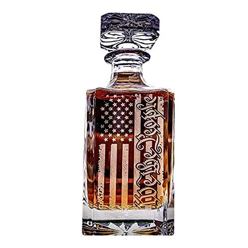 Chuanhao Decantador de whisky con diseño de bandera estadounidense, botella de cristal de 450 ml, botella de aromaterapia