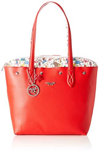 piero guidi Tote Bag Con Busta Borsa Donna, Rosso 21x18.5x4 cm (W x H x L)