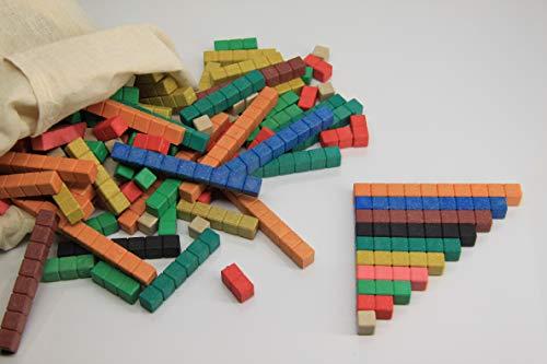 WISSNER® Aktiv lernen - Set de introducción cuisenaire con regletas de Madera (126 Piezas), Color - RE-Wood®