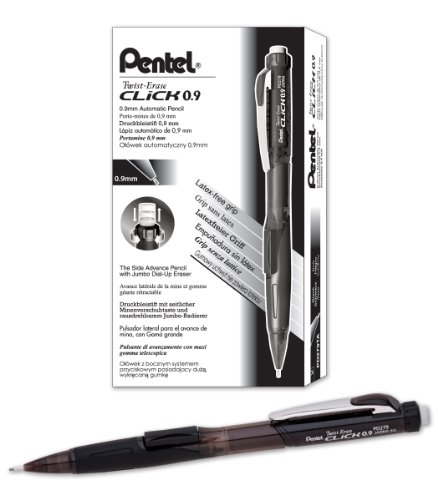 Price comparison product image Pentel Twist-Erase CLICK Mechanical Pencil (0.9mm) Assorted Black Barrels,  Color May Vary,  Box of 12 (PD279TA)