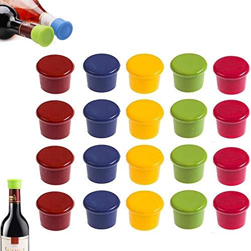 gotyou 20 Piezas Tapones de Vino Silicona, Vino Caps Tapones de Botella de sellador, Tapón de Vino de Silicona de Grado alimenticio Tapa de Botella de Vino, Silicona Reutilizable Vino y Bebida