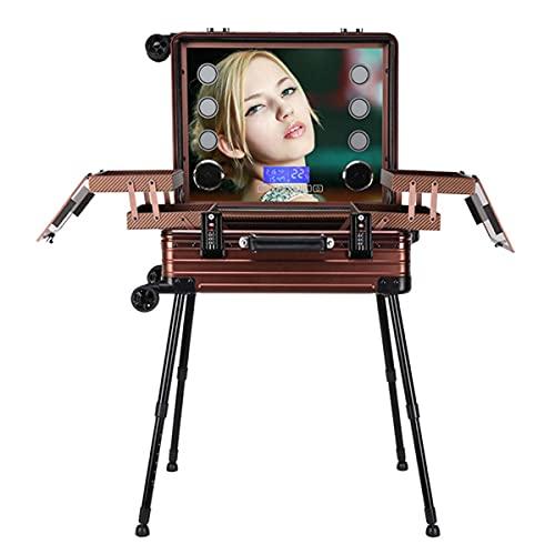 HYDL Maletin de Maquillaje Profesional con Ruedas, Maletín Maquillaje Trolley LED Espejo con Atenuación Soporte Desmontable Beauty Case Makeup, para Maquilladores, Esteticistas,Marrón