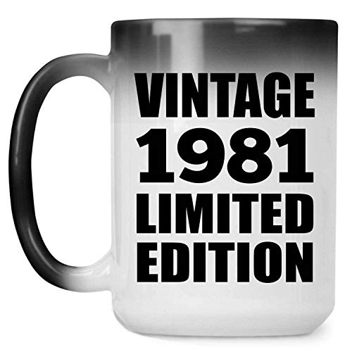 40th Birthday Vintage 1981 Limited Edition - 15oz Color Changing Mug Magic Tea-Cup Heat Sensitive - for Friend Kid Daughter Son Grand-Dad Mom Birthday Anniversary Mother's Father's Day