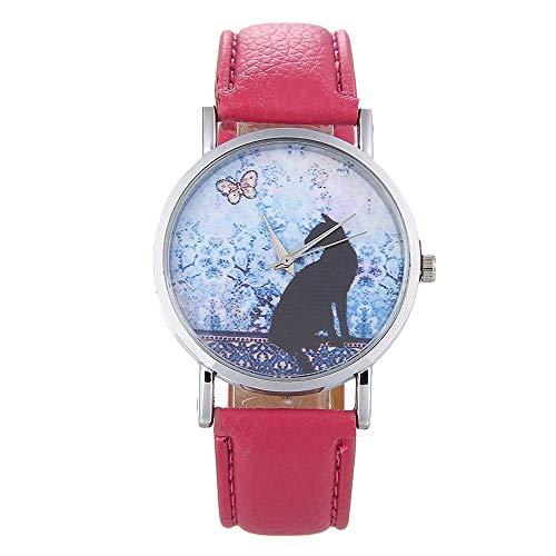 Plus Nao(プラスナオ) 腕時計 レディース ネコ キャット アナログ ラウンド 丸型 レディースウォッチ かわいい おしゃれ 蝶 バタフライ パ - ローズ