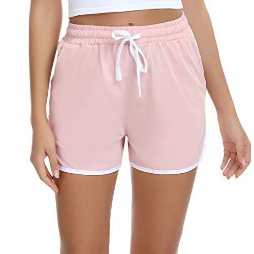 Aibrou Damen Sport Shorts Jogginghose Sporthose Yoga Kurze Hose Freizeithose Baumwolle Schlafanzughose Pyjamahose für Jogging, Fitness, Running, Gym Pink M