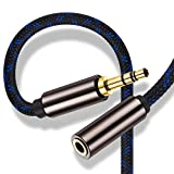 3.5mm Male to Female Stereo Audio Extension Cable 8 ft,Ruaeoda Double Shielded Aux Stereo Extension Cable 3.5mm Male to 3.5mm Female Adapter 8 Foot Headphone Extension 1/8 Cord