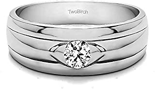 TwoBirch Sterling Silver Burnished Solitaire Men's Wedding Ring with Ribbed Shank With Cubic Zirconia(0.39Ct. Size 9.25)