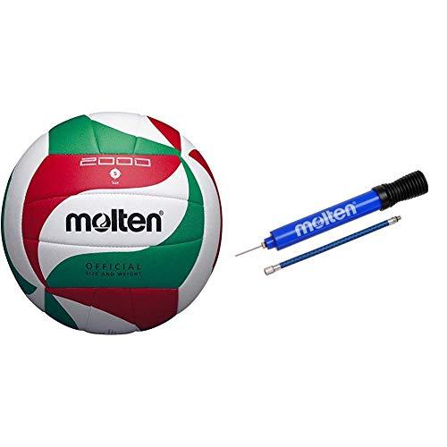 Molten Top Training Volleyball Gr. 5 Ball, Weiß/Grün/Rot, 5 & Luftpumpe DHP21-BL, BLAU
