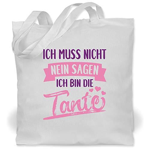 Shirtracer Schwester & Tante - Ich muss nicht nein sagen ich bin die Tante- rosa/lila - Unisize - Weiß - XT600_Jutebeutel_lang - WM101 - Stoffbeutel aus Baumwolle Jutebeutel lange Henkel