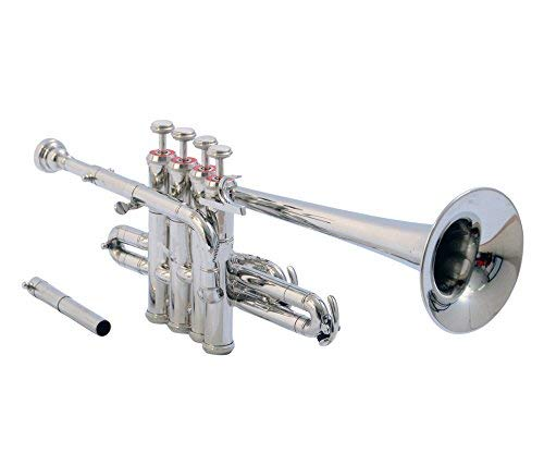 Sai Musical Piccolo Trumpet Bb Nickel Silver - with Case Mouthpiece - Nicely Tuned Instrument for Beginner Student Professional