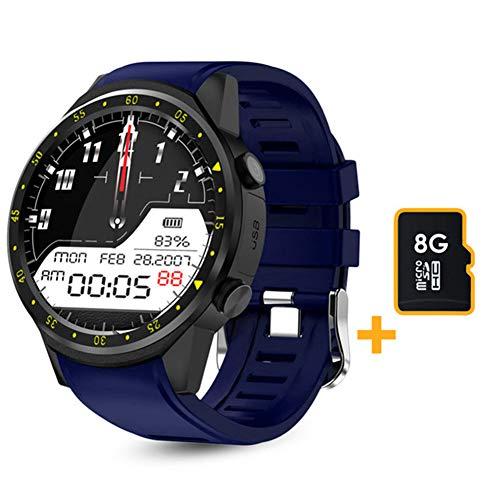 LSQ SmartWatch, F1 Smart Watch Men's GPS Reloj Rastreador de Ritmo cardíaco, Modo Multi-Sport 2020, con podómetro de Tarjeta SIM, Adecuado para Android iOS,C