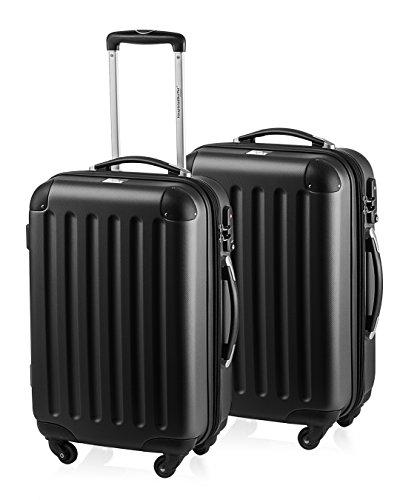 HAUPTSTADTKOFFER - Spree - 2er Koffer-Set Handgepäck Hartschale, TSA, 55 cm mit Volumenerweiterung, Schwarz