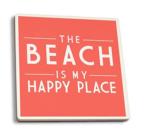 Juego de 4 posavasos de goma para bebidas, The Beach is My...