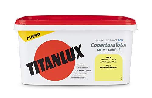 Titanlux - Pintura Plástica Cobertura Total Cubeta 4L (1018 Amarillo Piña)