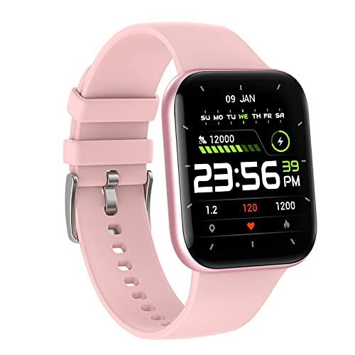 QFSLR Reloj Inteligente Smartwatch con Monitor De Frecuencia Cardíaca Seguimiento del Sueño Control De Música Podómetro IP68 Impermeable con Android iOS,Rosado