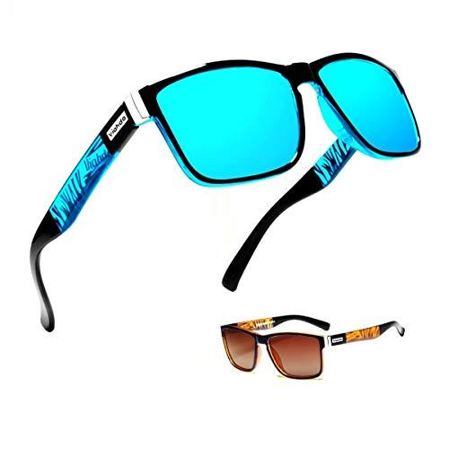 (2 unidades) Gafas de sol para hombre y hombre, polarizadas para montar al aire libre, cuadradas, resistentes al viento, Azul y marrón.,