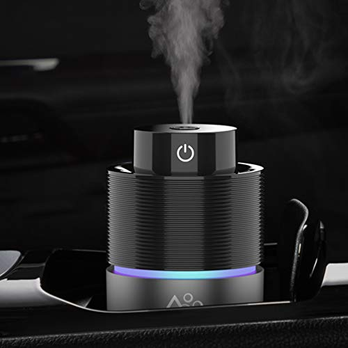 Vyaime Car Diffuser Car Humidifier, USB Essential Oil Diffusers 7 Colors LED Lights 200mL Big Capacity Aromatherapy Diffuser(Black-Grey)