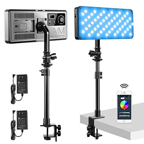 GVM RGB LED Video Light Kit with C-Clamp Stand, 2 PCS Full Color Video Lighting with App Control, Photography Lighting Kit with 8 Applicable Scenes/2700K-10000K/CRI 97+ for YouTube Game Video Shooting