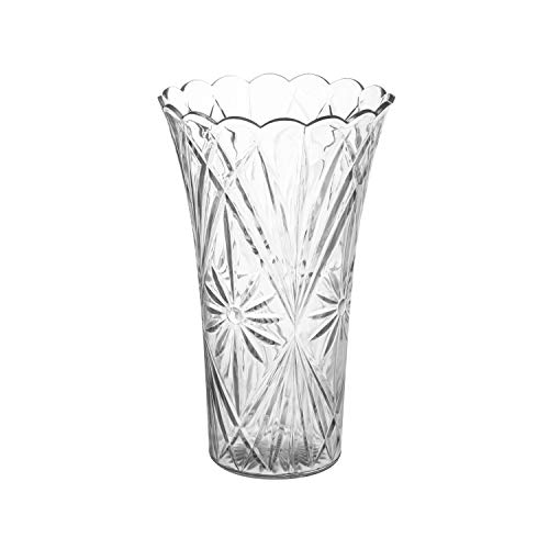 Royal Imports Flower Acrylic Vase Decorative Centerpiece for Home or Wedding Non-Breakable Plastic - 9' Tall, 4' Opening - Clear