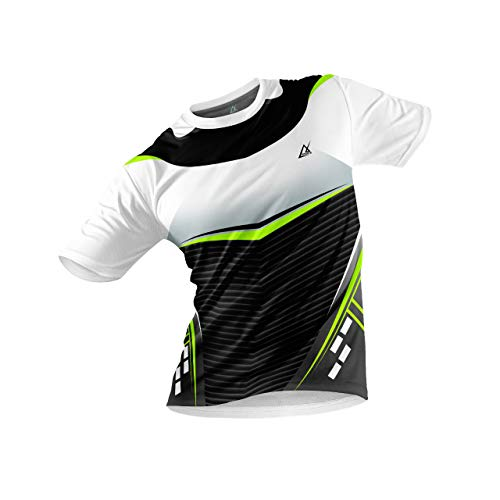 JJ TEES Polyester Half Sleeve Jersey with Round Collar and Digital Print All Over for Men (Size:XL) (Color: White, Black and Neon Green)