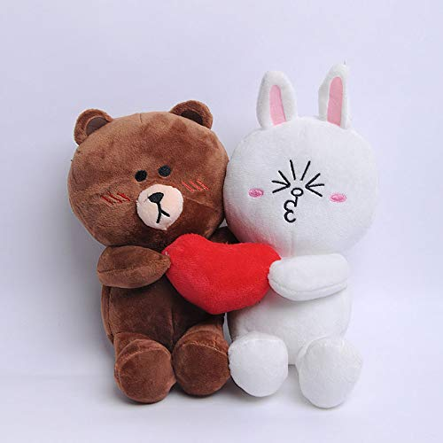 tianluo Juguete de Peluche Muñecas De Oso Marrón Y Conejito con Corazón para Boda Regalo Conejo Juguetes Rellenos Muñeca para La Novia Y El Novio