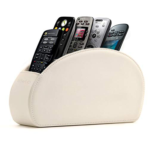 Londo Fernbedienungshalter mit 5 Taschen - Platz für DVD, Blu-Ray, TV, Roku oder Apple TV Fernbedienungen - Leder mit Wildleder Futter (Weiß), OTTO141