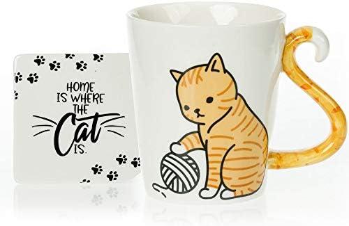 Tabby Cat Mug Coaster Gift Set Unique Hand Painted Novelty 3D Orange Kitty Ceramic Tea Coffee product image