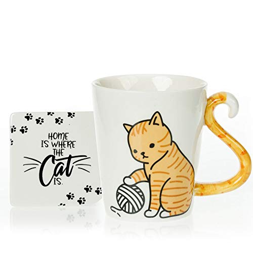 Tabby Cat Mug & Coaster Gift Set - Unique Hand Painted Novelty 3D Orange Kitty Ceramic Tea Coffee Mugs Gifts. Includes Cute Coaster With a Fun Home is where the Cat is Phrase