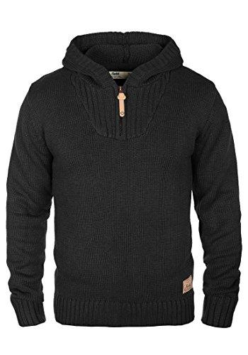 !Solid Penn Herren Winter Pullover Strickpullover Kapuzenpullover Grobstrick Pullover mit Kapuze und Reißverschluss Am Kragen, Größe:M, Farbe:Black (9000)