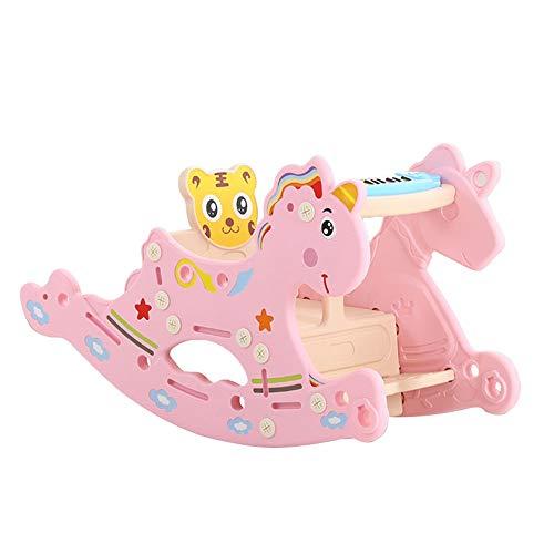 YUMEIGE hobbelpaard Hobbelpaard, PE-plastic, hobbelpaard, multifunctioneel, met Story Machine Chinese, Peuter Rocking Horse, 0-3 jaar gebruik, Exercise Balance (Color : Pink)