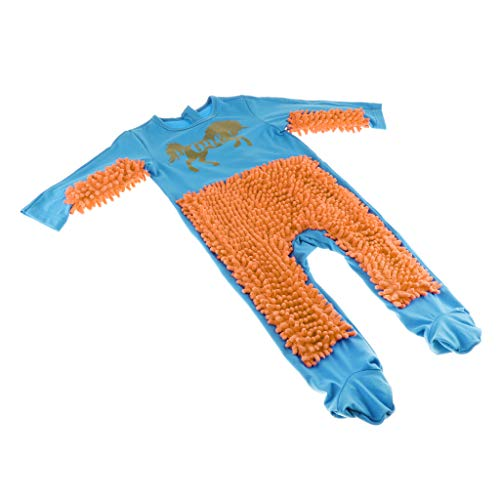 Perfeclan Baby Kleidung Wischmop Strampler Reinigungsmop Overall Kleinkinder Jumpsuit Babykleidung zum Krabbeln - Blau + Orange, 90cm