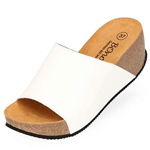 BOnova Engage Leder Schwarz, Weiß oder Braun Bequeme Pantoletten mit Keilabsatz Größe 36-42 für Damen Sandalette Pumps High Heels weiß 40