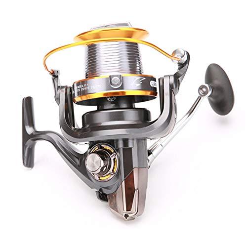 FRHP Spinning Fishing Reel Metal Ultra Smooth 3000/4000/5000/6000/7000/8000/9000 Series Spinning Metal Saltwater Carrete de Pesca Carrete de la Carpa Carrete Largo para Ruedas,8000