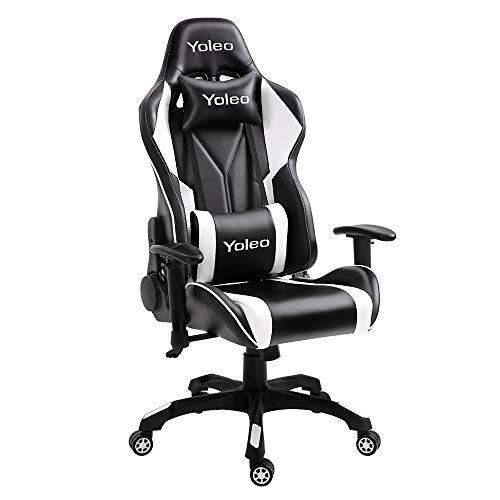 YOLEO Gaming Stuhl Bürostuhl Racing Stuhl Gamer Ergonomischer Stuhl mit Lendenkissen, Hohe Rückenlehne Verstellbarer Drehstuhl, mit einstellte Kopfstütze,150 kg Belastbarkeit, PU-Leder (Schwarz-Weiß)