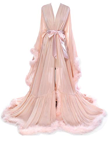 Molisa Women's Sexy Feather Bridal Robe Long Wedding Scarf Illusion Bathrobe Sleepwear Lingerie Robe Nightgown Blush S/M