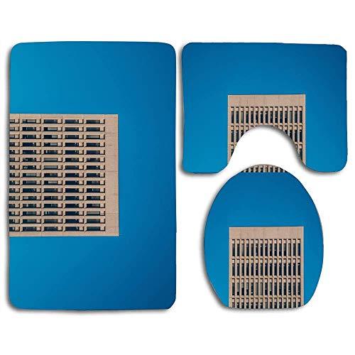 N\A Non-Slip 3 Piece Soft Building, Blue Sky Bath Rugs Set Washable Bathroom Rug + Contour Mat + Toilet Seat Cover,Floor Rug for Doormats Tub Shower Room Decorations
