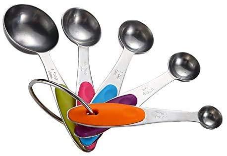 JKXWX Cuchara Medidora para Hornear Acero Inoxidable Mango De Silicona Cocina Doméstica Juego De 5 Piezas JKXWX-12.31