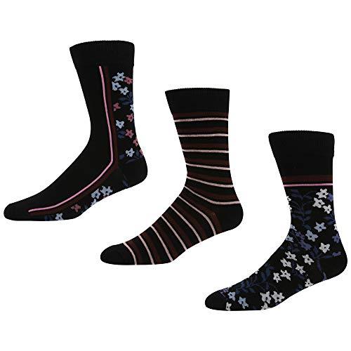 Ben Sherman Herren Little Owl Socken, Schwarz (Black Floral/Black Stripe/Black Floral 3PKA), 7/10/2019 (Herstellergröße: 7-11) (3er Pack)