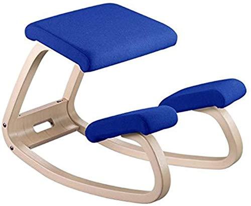 N / A Ergonomischer Ausgleichender Kniestuhl | Schaukelhaltung Holzhocker | Für Home Office und Schreibtischstuhl | Großer Sitz, Dicke Kniekissen(Color:Blau)