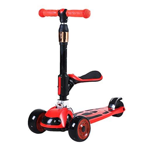 ZZL Patinetes para Niños Patear Scooters para Niños Scooter para Niños con Asiento Plegable Altura Ajustable Magro para Dirigir Scooter para Niños de 1 A 14 Años Scooter (Color : Red)